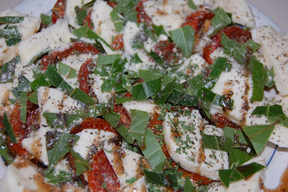 Roasted Tomato, Mozzarella, and Basil Salad