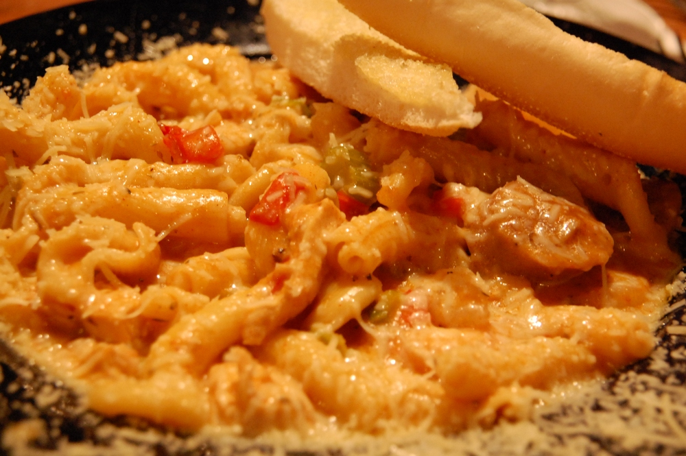 Gigli Pasta, Italian Sausage, Chicken, and Shrimp in a Creamy Cajun Sauce