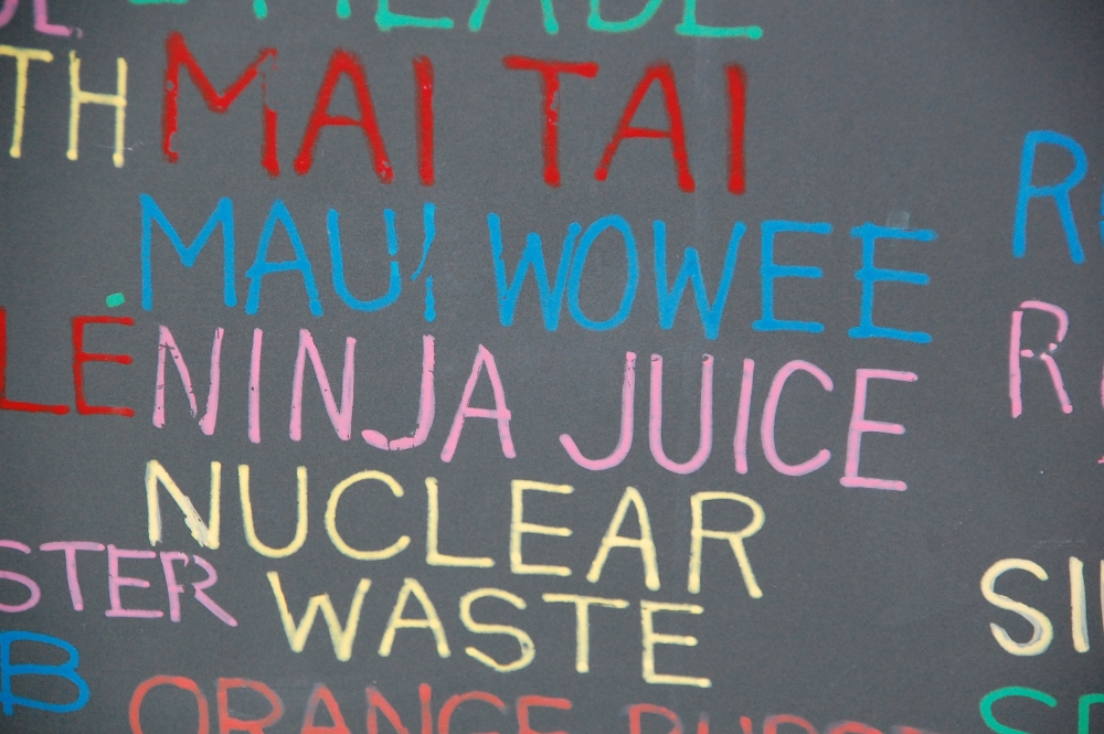 A chalkboard menu from a lunch trunk in Seaside, FL that serves Ninja Juice