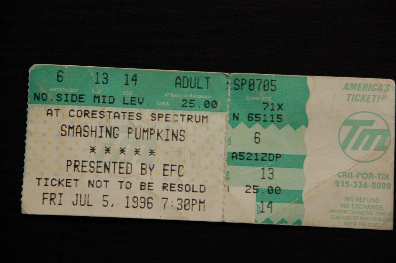Smashing Pumpkins Ticket Stub - Philadelphia, PA