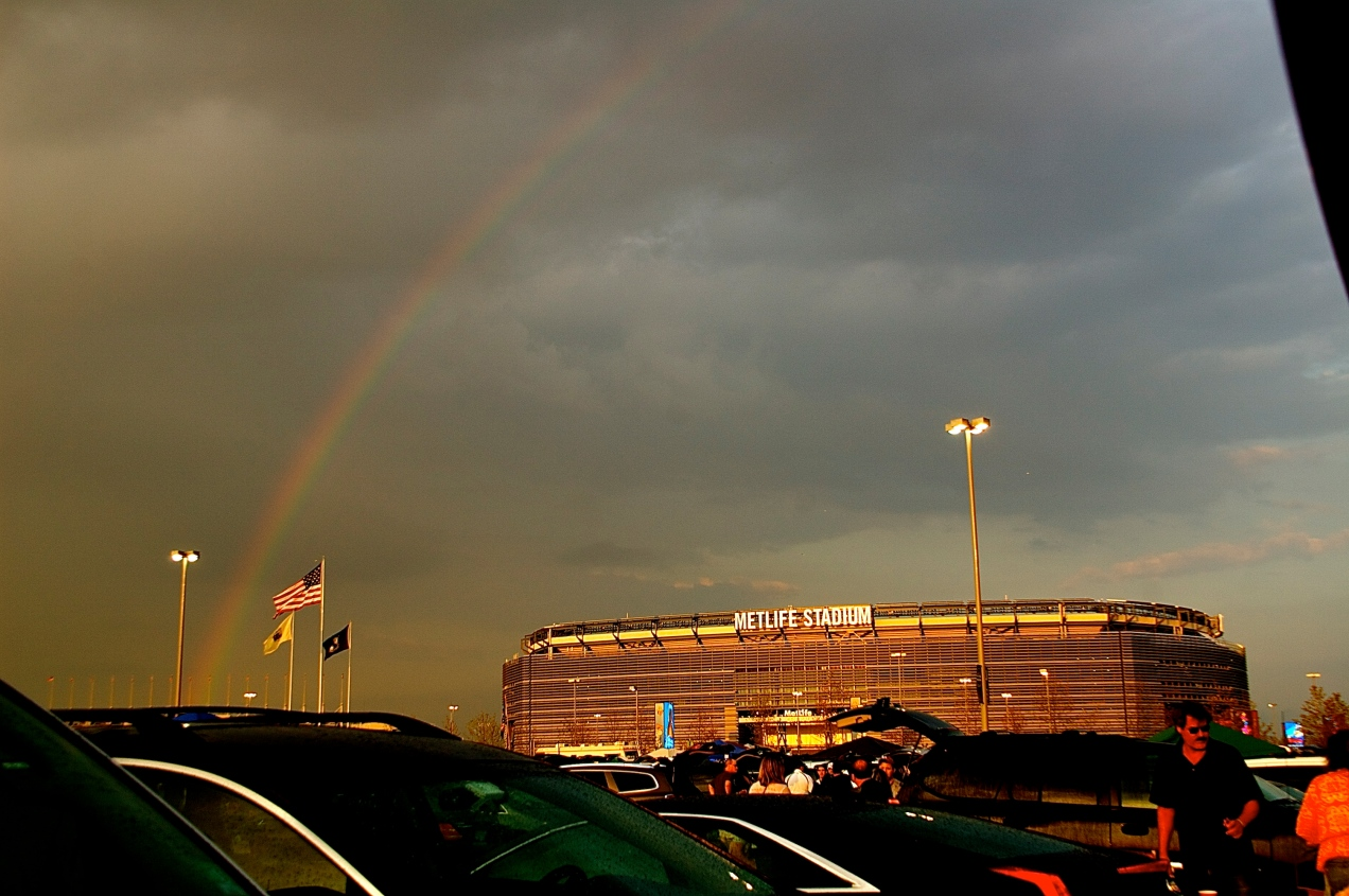 Rainbow over MetLife Stadium in East Rutherford, NJ