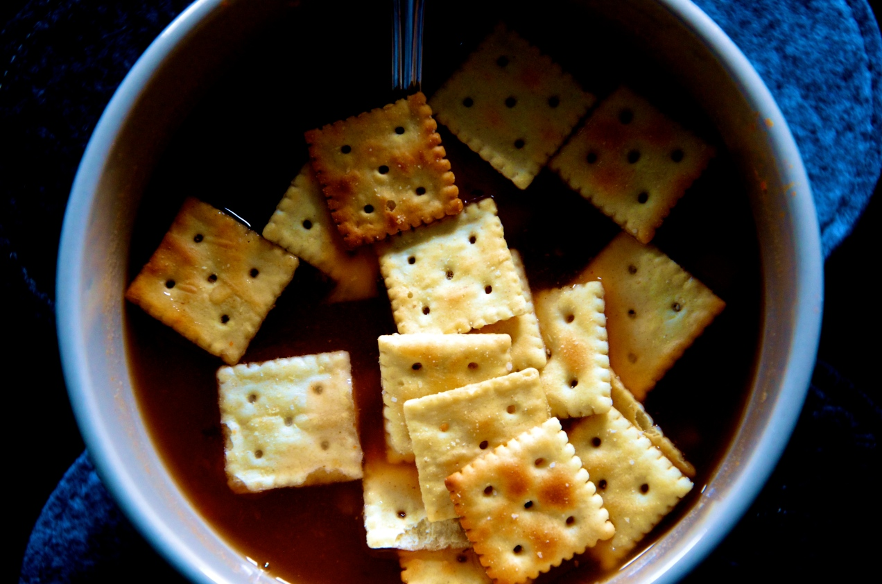 Crackers Floating in Soup